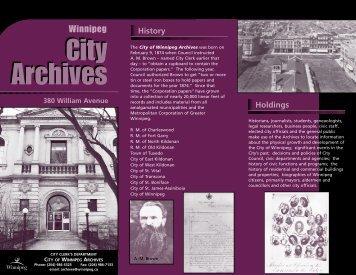 Archives Since 1874 Pamphlet - City of Winnipeg
