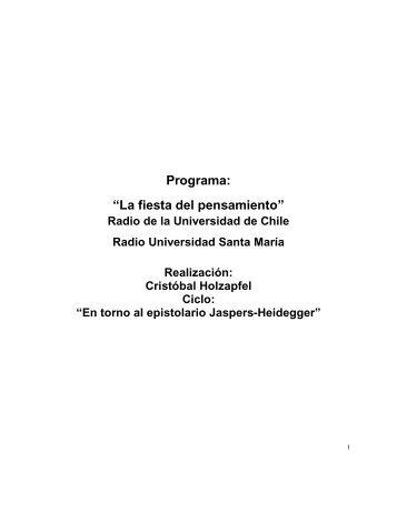 En torno al epistolario Jaspers-Heidegger - cristobal holzapfel