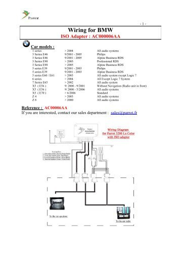 wiring for vw iso adapter ac000018aa parrot rh yumpu com Parts of a Parrot Parts of a Parrot