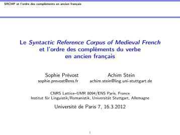 Le Syntactic Reference Corpus of Medieval French et l'ordre des ...