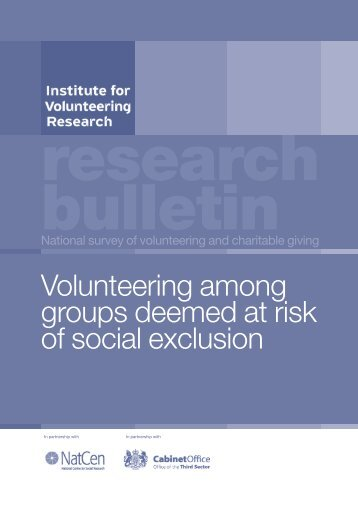 Volunteering among groups deemed at risk of social exclusion