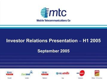Investor Relations Presentation – H1 2005