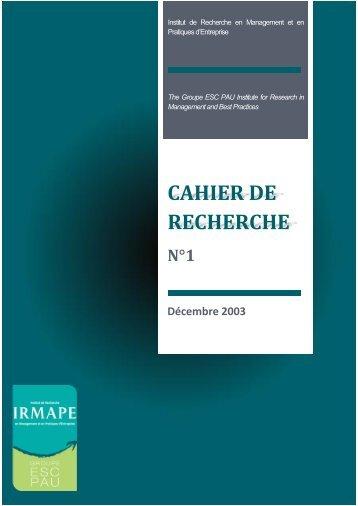 Cahier de recherche N°1 - ESC Pau