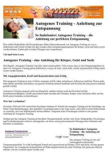 Autogenes Training - Anleitung zur Entspannung