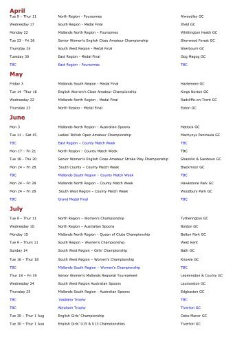 Women's fixtures 2013 - England Golf