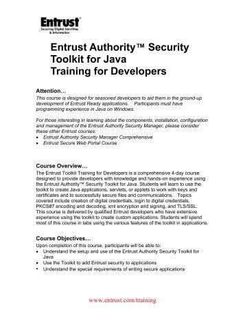 Download Course Description - Entrust