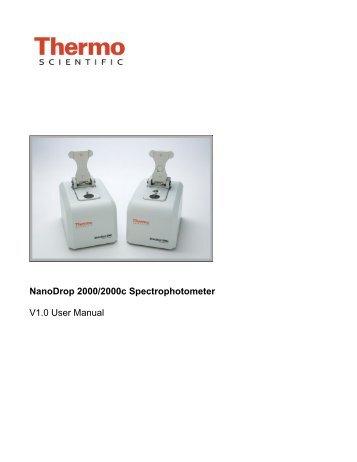 Thermo scientific™ nanodrop™ 2000/2000c spectrophotometers.