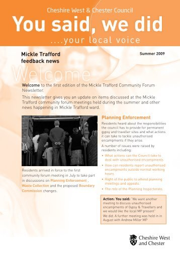 Newsletter Frodsham - West Cheshire Together