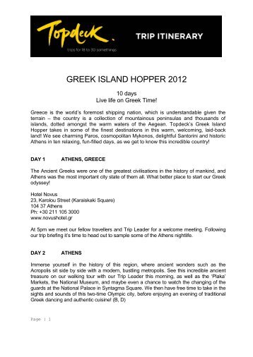 Greek Island Hopper 2012 Itinerary - Topdeck Travel