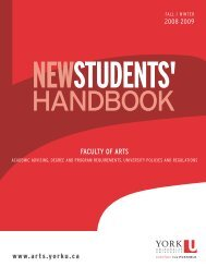 2008/2009 New Students' Handbook - Faculty of Liberal Arts ...