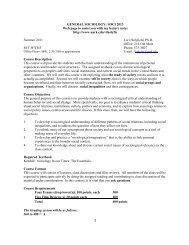 GENERAL SOCIOLOGY: SOCI 2013 - University of Arkansas