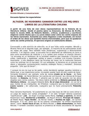 ganador entre los mejores libros de la literatura chilena - Sigweb