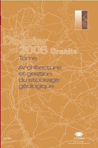 Tome Architecture et gestion du stockage géologique (PDF ... - Andra