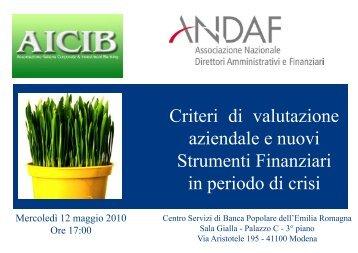 Criteri di valutazione aziendale e nuovi Strumenti Finanziari ... - AICIB