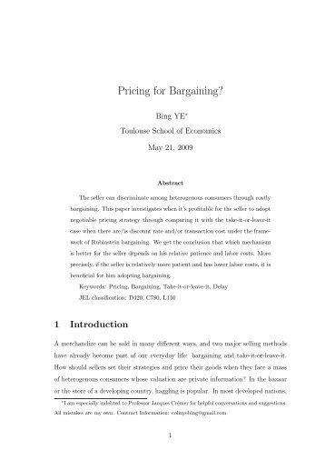 Pricing for Bargaining? - Ecares