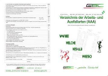 Verzeichnis der Arbeits- und Ausfallarten (AAA (den ...