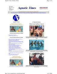 Page 1 of 4 Aquatic Times Feature Article 8/21/2009 http://www ...