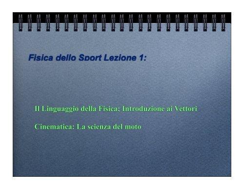 Fisica dello Sport Lezione 1: - Docente.unicas.it
