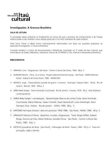 Investigações: A Gravura Brasileira - Itaú Cultural