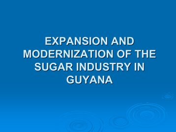 expansion and modernization of the sugar industry in guyana