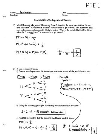 Sample Space Diagrams and Probability - Independent Events ...