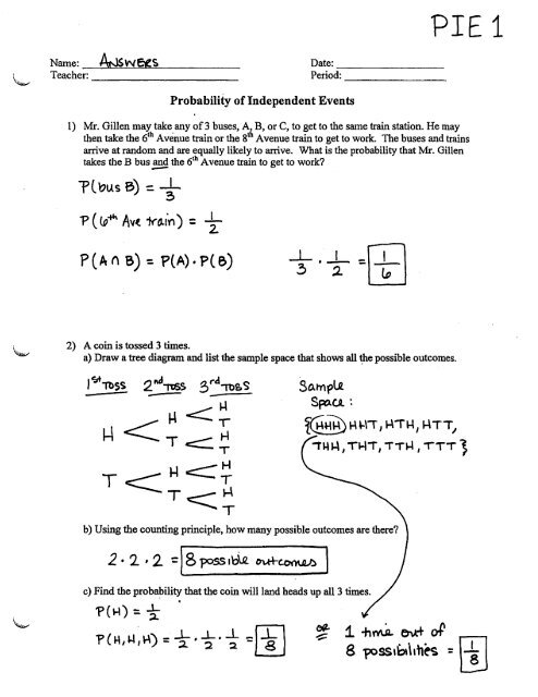 Probability of Independent Events - Worksheet - PIE1