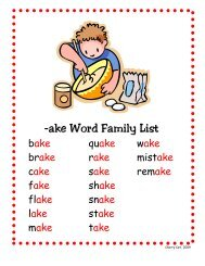 -ake Word Family List
