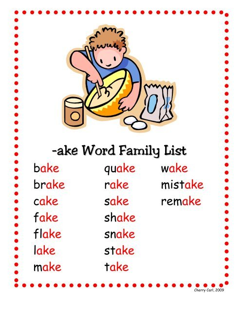 ake Word Family List