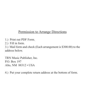 REQUEST FOR PERMISSION TO ARRANGE - TRN Music Publisher
