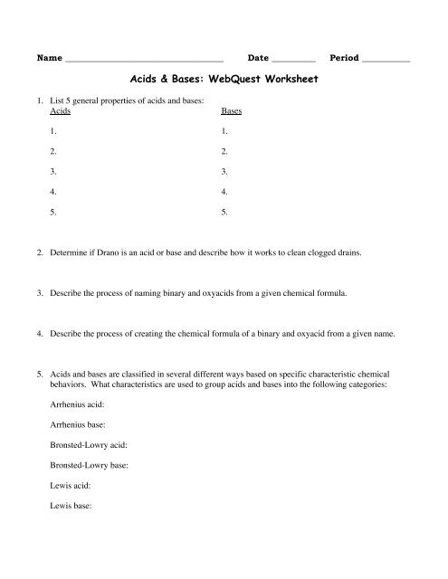 Acids & Bases: WebQuest Worksheet