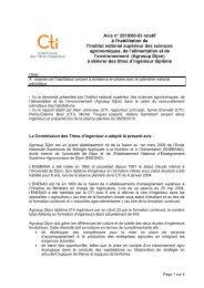 Avis Agrosup Dijon - Commission des Titres d'Ingénieur