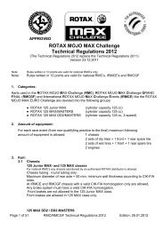 ROTAX MOJO MAX Challenge Technical Regulations 2012