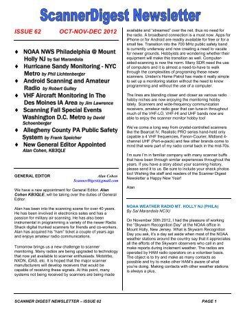 Scanner Digest Newsletter - Issue 62