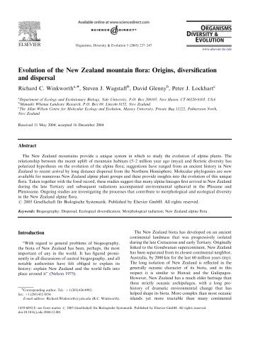 Evolution of the New Zealand mountain flora: Origins, diversification ...