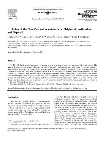 Evolution of the New Zealand mountain flora: Origins, diversification ...