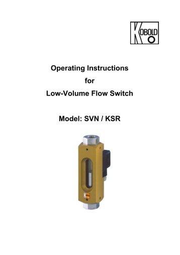 KSR / SVN Low-Volume Flow Switch User Instructions - Kobold