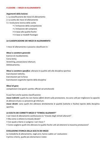 I MEZZI DI ALLENAMENTO Argomenti della lezione - life and fitness