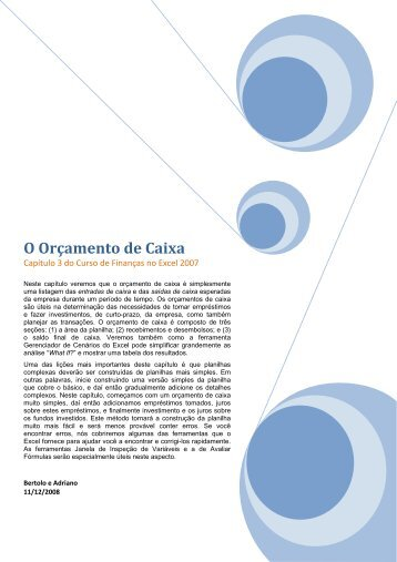 Capítulo 03 - O ORçamento de Caixa - Site Prof. Bertolo