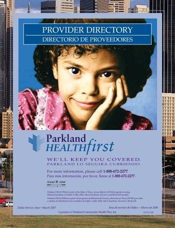 PROVIDER DIRECTORY - Parkland Community Health Plan, Inc.