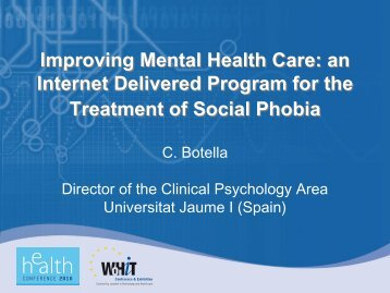 Improving Mental Health Care: an Internet Delivered Program for the ...