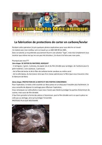 La fabrication de protections de carter en carbone/kevlar