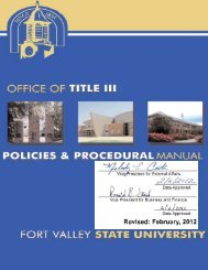 Title III Policies Procedural Manual - Fort Valley State University