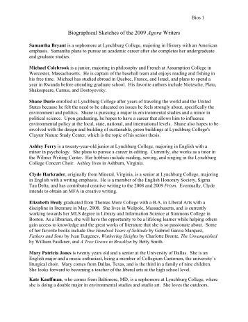 Biographical Sketches of the 2009 Agora writers