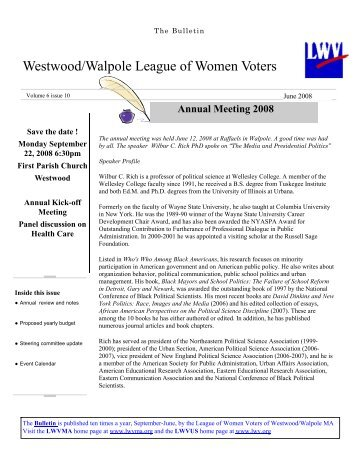 lwv bulletin1 june 0.. - The League of Women Voters Westwood