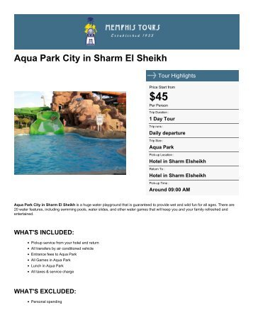 Aqua Park City in Sharm El Sheikh - Memphis Tours Egypt