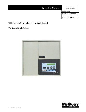 Control panel microtech ii c plus mcquay 200 series microtech control panel asfbconference2016 Images