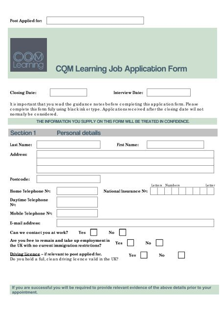 Job Application Form Template Cqm Learning