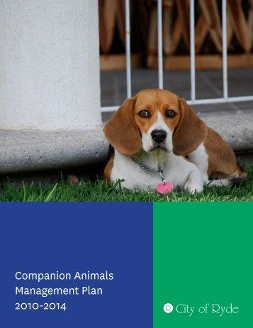 Companion Animals Management Plan 2010-2014 - City of Ryde