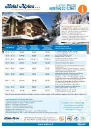 LISTINO PREZZI INVERNO 2010/2011 - Hotel Alpina