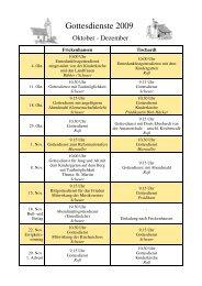 Gottesdienstplan 2009 - 4. Quartal